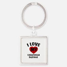 I Love My Singapore Boyfriend Square Keychain