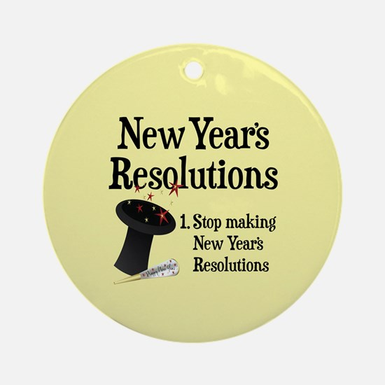 New Years Resolutions Round Ornament