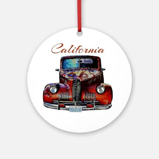 California Route 66 Truck Round Ornament