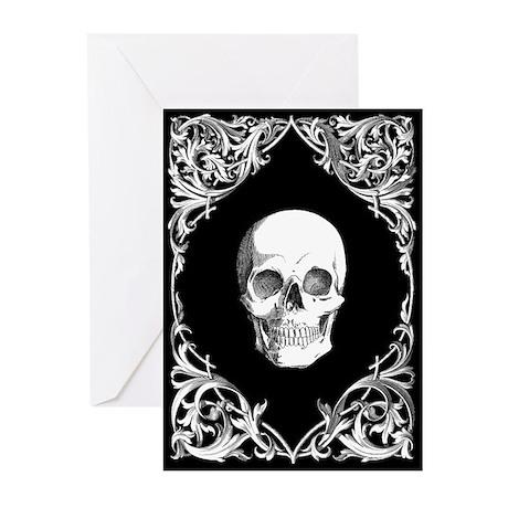 Black Elegant Skull Greeting Cards (Pk of 10)