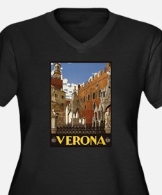 Verona Italy Women's Plus Size V-Neck Dark T-Shirt