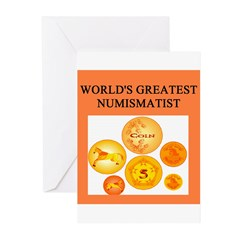 numismatist gifts t-shirts Greeting Cards (Pk of 1