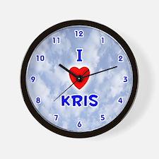 I Love Kris (Blue) Valentine Wall Clock
