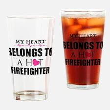 MY HEART BELONGS TO A HOT FIREFIGHTER Drinking Gla