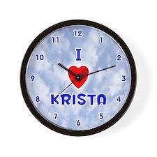 I Love Krista (Blue) Valentine Wall Clock