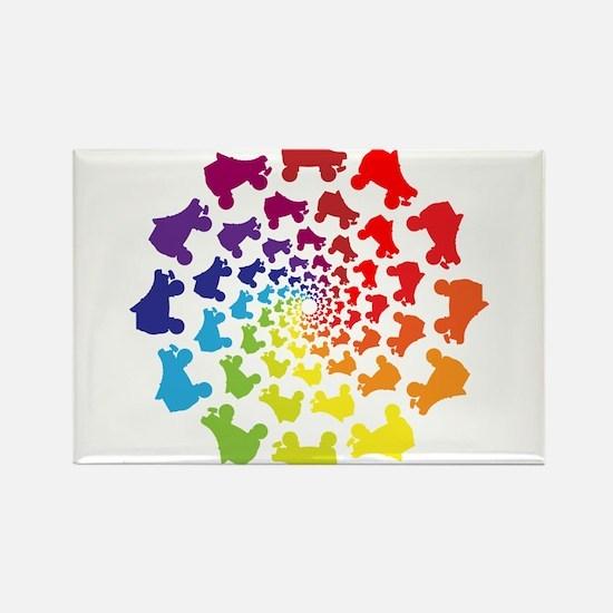 rainbow circle skate Magnets