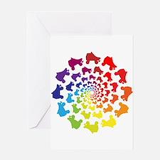 rainbow circle skate Greeting Cards