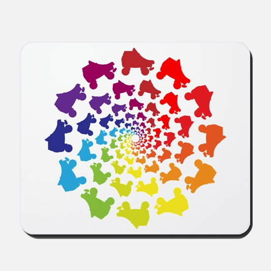 rainbow circle skate Mousepad