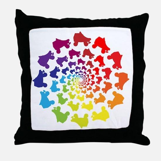 rainbow circle skate Throw Pillow