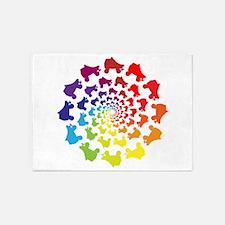 rainbow circle skate 5'x7'Area Rug