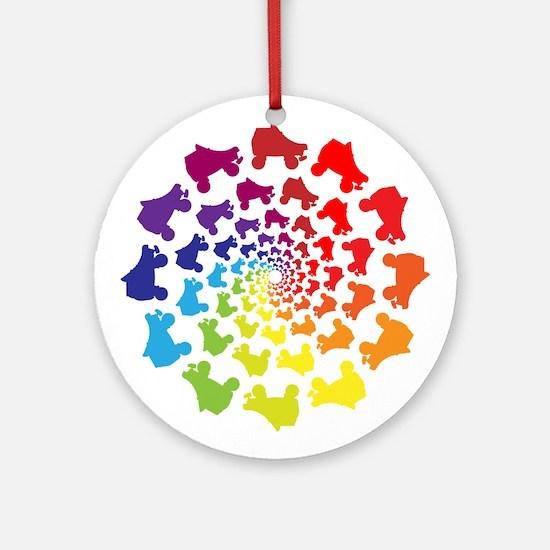 rainbow circle skate Round Ornament