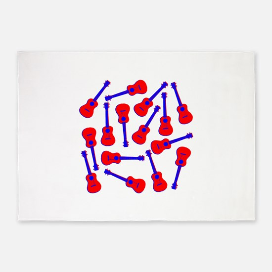Red Ukuleles 5'x7'Area Rug