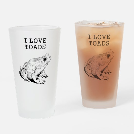 I Love Toads Drinking Glass