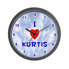 I Love Kurtis (Blue) Valentine Wall Clock