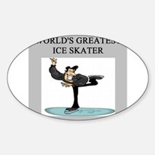 ice skating gifts t-shirts Oval Decal