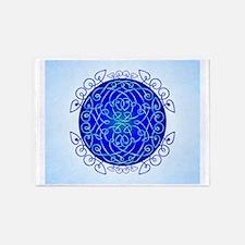 Deep Blue Celtic Art Curls 5'x7'Area Rug