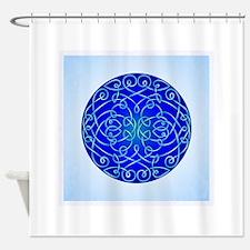 Deep Blue Celtic Art Curls Shower Curtain