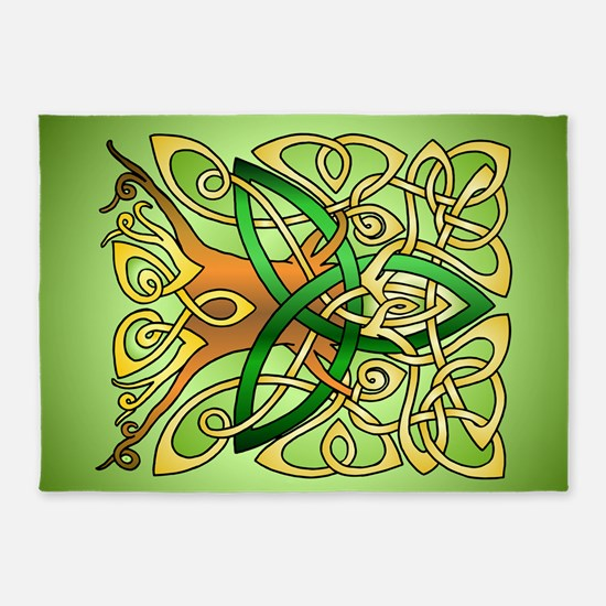 Celtic Art Trinity Tree Green 5'x7'Area Rug