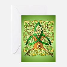 Celtic Art Trinity Tree Green Greeting Cards
