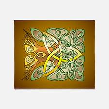 Celtic Art Trinity Tree Brown Throw Blanket