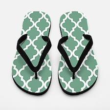 Moroccan Quatrefoil Pattern: Seafoam Gr Flip Flops