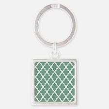 Moroccan Quatrefoil Pattern: Seafo Square Keychain