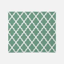 Moroccan Quatrefoil Pattern: Seafoam Throw Blanket