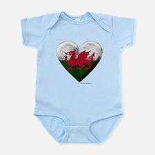 Welsh Flag Heart Body Suit