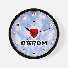 I Love Abram (Red/Blk) Valentine Wall Clock
