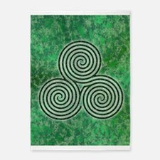 Green Celtic Spiral Triskellion 5'x7'area