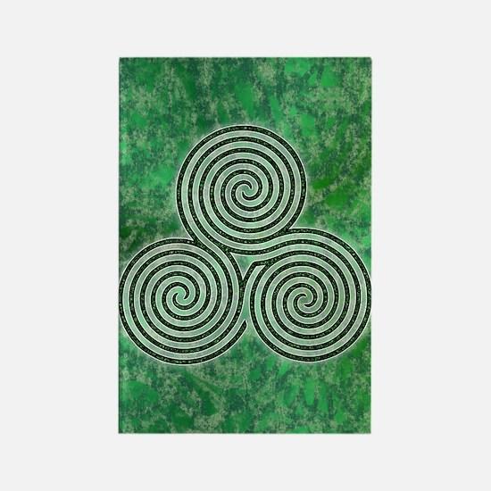 Green Celtic Spiral Triskellion Labyrinth Magnets