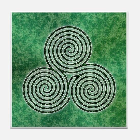 Green Celtic Spiral Triskellion Labyrinth Tile Coa