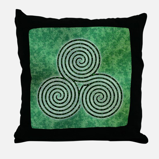 Green Celtic Spiral Triskellion Labyrinth Throw Pi