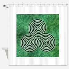 Green Celtic Spiral Triskellion Labyrinth Shower C