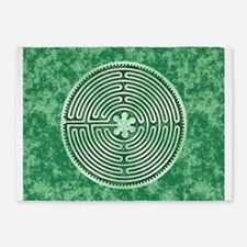 Green Chartres Cathedral Labyrinth 5'x7'Area Rug