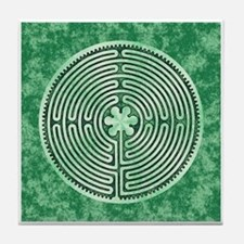 Green Chartres Cathedral Labyrinth Tile Coaster