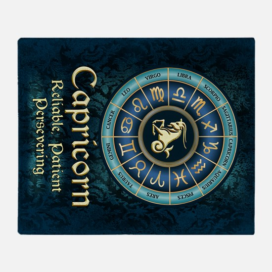 Capricorn Astrology Zodiac Sign Throw Blanket
