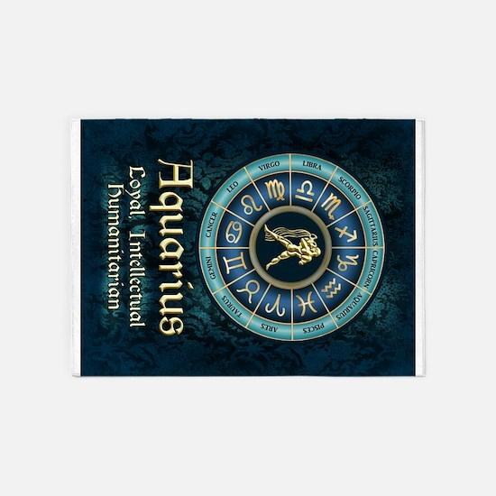 Aquarius Astrology Zodiac Sign 5'x7'Area Rug