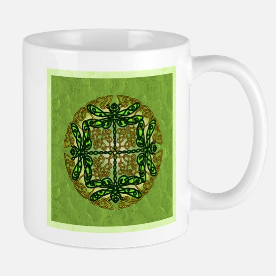 Celtic Dragonflies Green Mugs