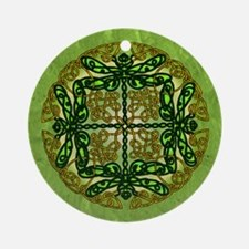 Celtic Dragonflies Green Round Ornament