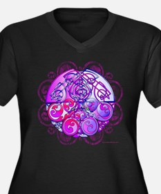 Celtic Chinese Dragons Pink and Purple Plus Size T