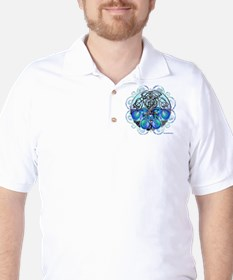 Celtic Chinese Dragons Blue and Black T-Shirt