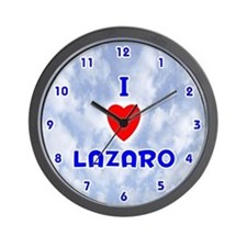 I Love Lazaro (Blue) Valentine Wall Clock
