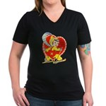 Slide Into Your Heart Women's V-Neck Dark T-Shirt
