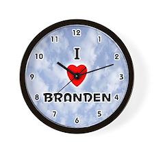 I Love Branden (Black) Valentine Wall Clock