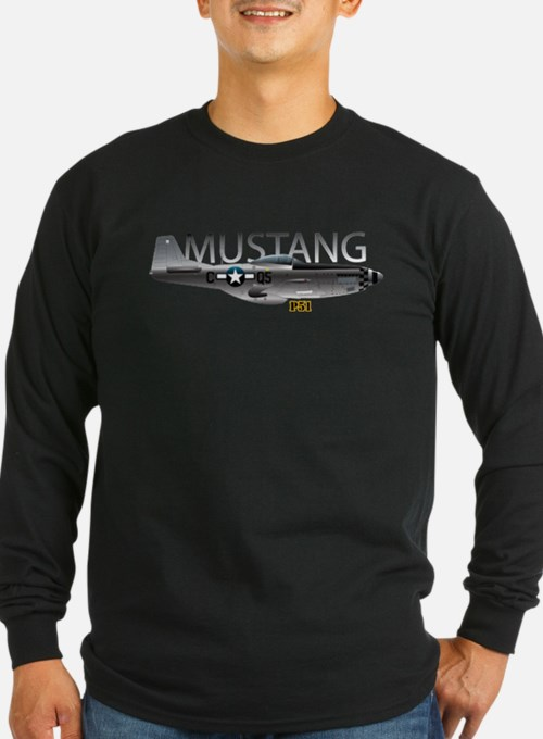 Mustang P-51 drawing on Long Sleeve T-Shirt