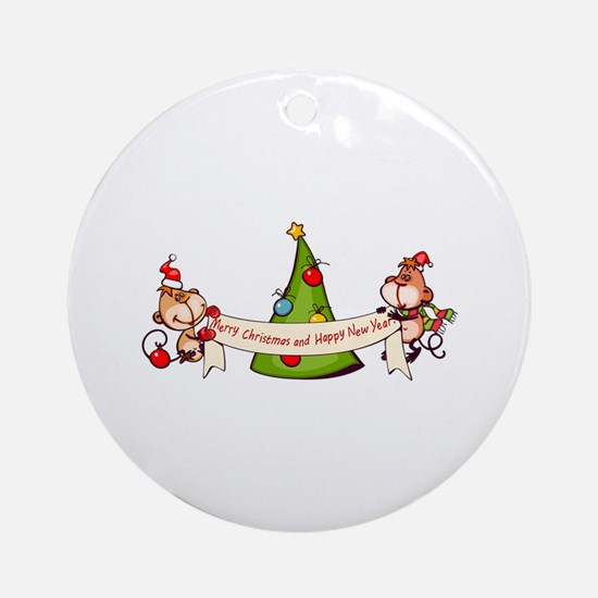 Merry Christmas And Happy New Year Round Ornament