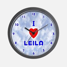 I Love Leila (Blue) Valentine Wall Clock