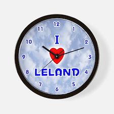 I Love Leland (Blue) Valentine Wall Clock