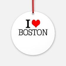I Love Boston Round Ornament